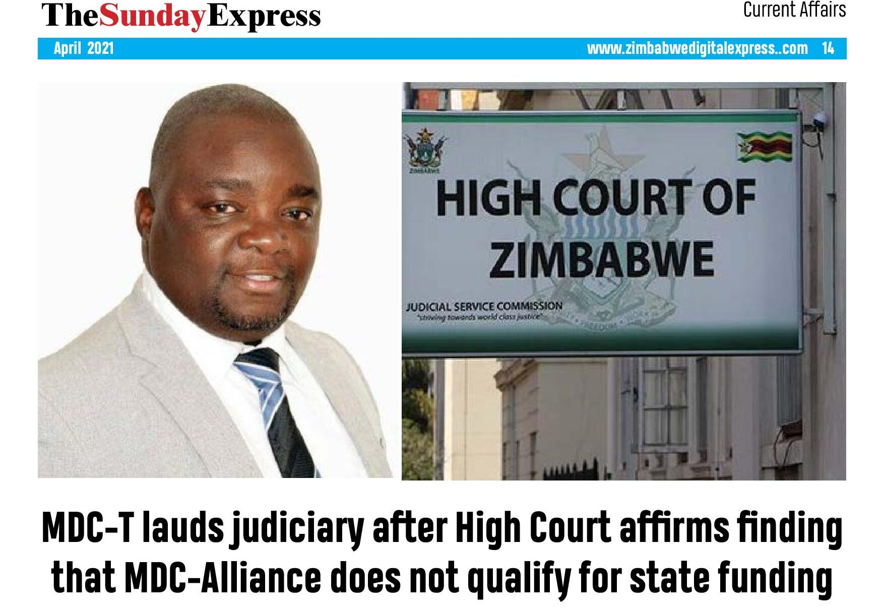 MDC-T lauds judiciary after High Court affirms finding that MDC-Alliance does not qualify for state funding